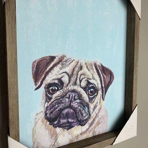 PUG Wood Framed Wall Art - Adorable!